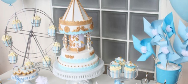 Carousel themed 1st birthday party dessert table with SUCH CUTE IDEAS via Kara's Party Ideas | Cake, decor, cupcakes, recipes, games, and MORE! #carouselparty #baptismdesserttable #firstbirthdayboy #partyideas #partydecor #partystyling #eventstyling (1)