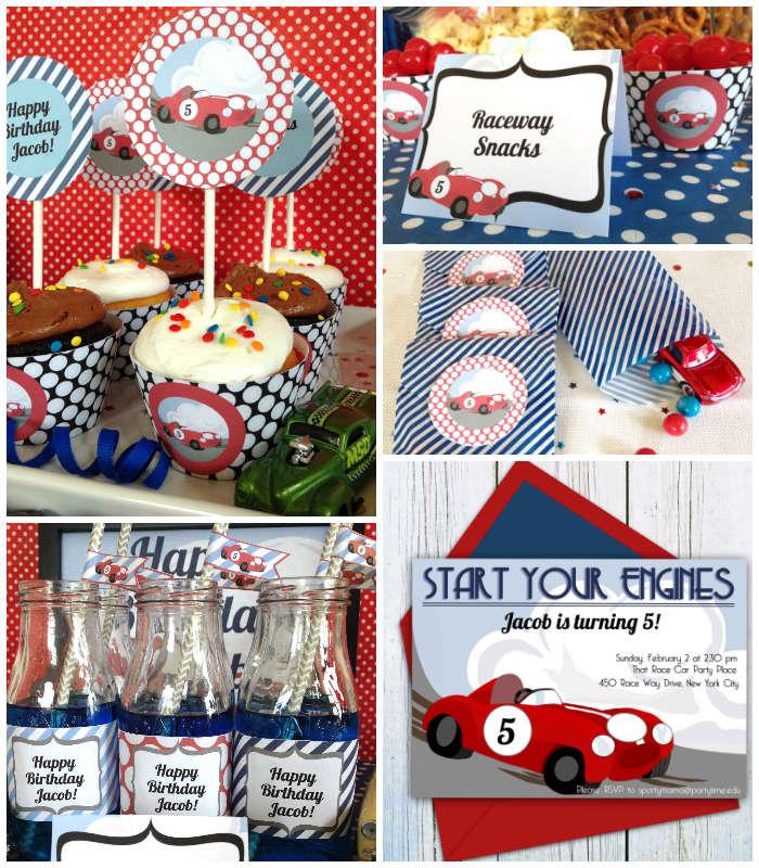 Kara's Party Ideas Retro Race Car Themed Birthday Party