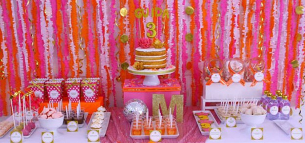 Pink and Orange Disco Party with Lots of Cute Ideas via Kara's Party Ideas | Cake, decor, cupcakes, recipes, favors, printables, games, and MORE! #discoparty #disco #partyideas #partystyling #girlbirthdayparty #partydesign (1)
