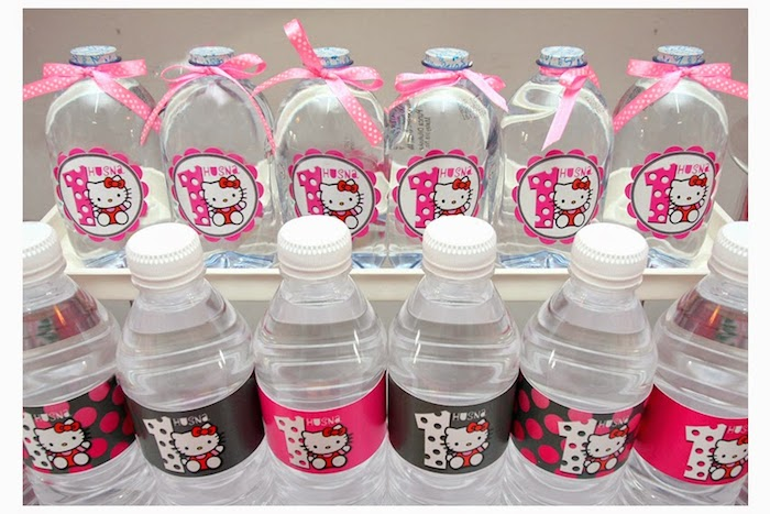 Karas Party Ideas Pink and Grey Hello Kitty themed birthday party