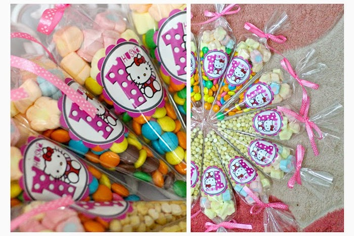 Pink And Grey Hello Kitty Themed Birthday Party With Such Cute Ideas Via Karas
