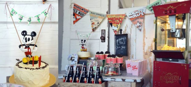 Vintage Mickey Mouse themed birthday party with Lots of Really Cute Ideas via kara's party ideas! full of decorating ideas, dessert, cake, cupcakes, favors and more! KarasPartyIdeas.com #mickeymouse #mickeymouseparty #vintagemickeymouse #partyplannign #partydecor #partydesign #partyideas (2)