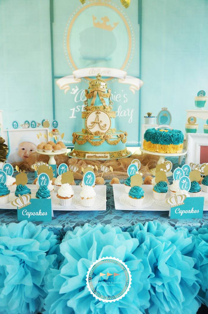 Kara 39 S Party Ideas Royal Prince 1st Birthday Party Via Kara 39 S Party Ideas Cake Decor