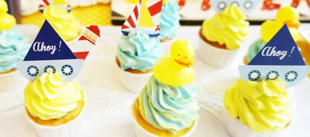 Rubber Ducky themed birthday party with Lots of Darling Ideas via Kara's Party Ideas | Full of decorating tips, cupcakes, cakes, printables, favors, and MORE! #rubberducky #rubberduckyparty #nauticalparty #beachparty #partyideas #partydecor #partystyling #eventstyling (1)