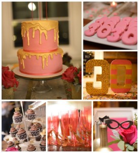 Pink, Gold, and Old 30th birthday party with Lots of Fabulous Ideas via Kara's Party Ideas | Cake, decor, desserts, cupcakes, games, and more! KarasPartyIdeas.com #adultbirthdayparty #30birthday #partydecor #partyideas #partyplanning #pinkandgold #partystyling (1)