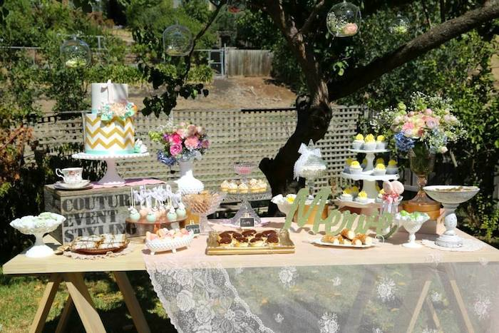 vintage rustic garden themed birthday party with lots of really cute ideas via karas party ideas - Garden Ideas Vintage