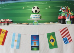World Cup Soccer themed birthday party with Lots of Fabulous Ideas via Kara's Party Ideas | Cake, decor, desserts, games and more! KarasPartyIdeas.com #worldcup #soccerparty #worldcupparty #partyideas #partydecor #partyplanning (8)