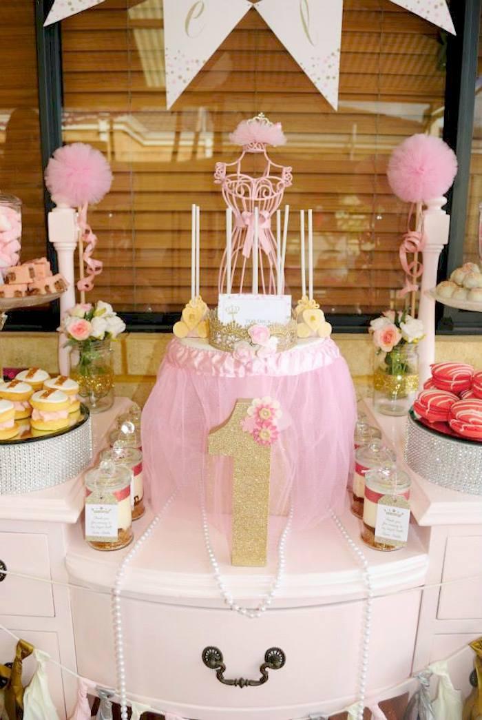 Kara S Party Ideas Glitter Gold Pink Princess 1st Birthday