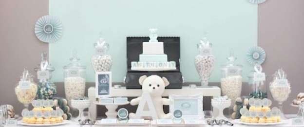 aqua teddy bear christening blessing party via Kara's Party Ideas KarasPartyIdeas.com