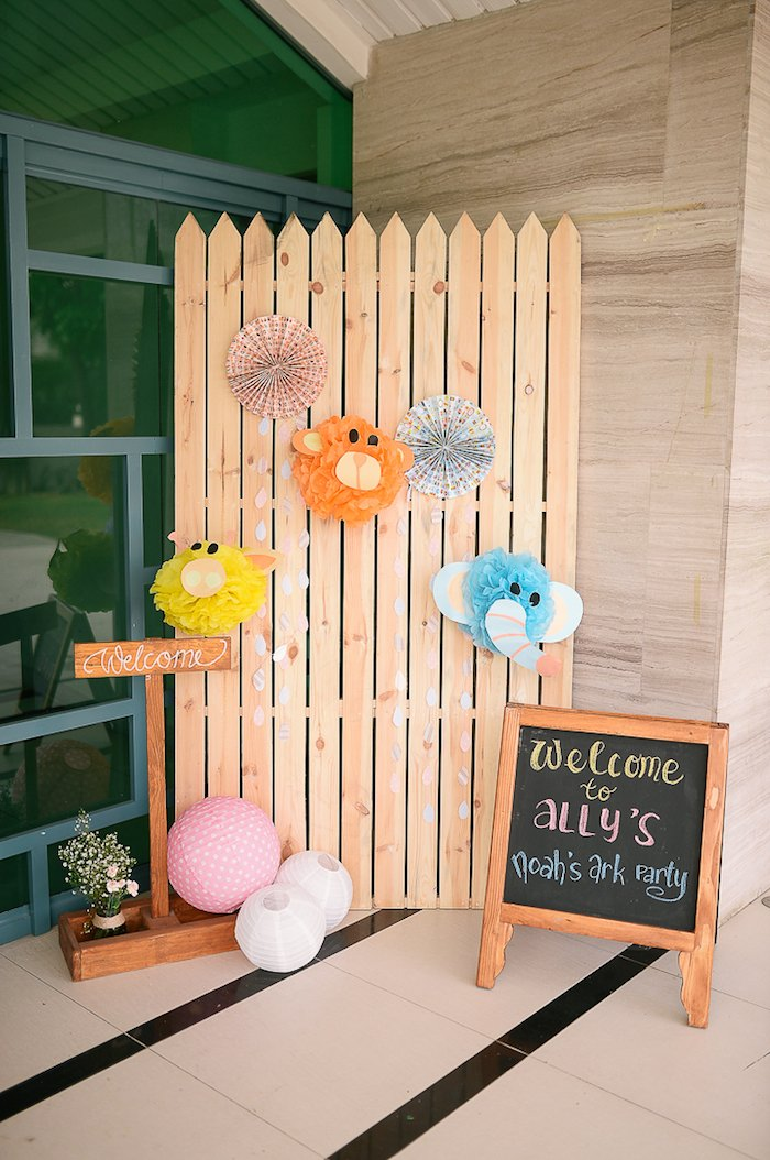 Kara's Party Ideas Pastel Noah's Ark Christening Party via ...