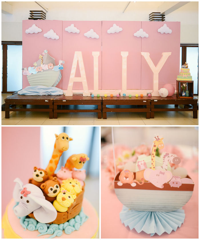 Kara 39 s party ideas pastel noah 39 s ark christening party via for Noah s ark decorations