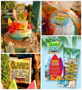Disney's Teen Beach Movie with Lots of Really Fun Ideas themed birthday party via Kara's Party Ideas | Cake, decor, recipes, cupcakes, printables, favors, and MORE! #teenbeachmovie #beachparty #luau #surfing #surfparty #partydecor #partyideas #eventplanning #eventstyling #partyplanning (2)