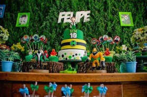 Ben 10 themed birthday party with Lots of Really Fun Ideas via Kara's Party Ideas! Full of decorating ideas, cakes, cupcakes, favors, printables, desserts, and MORE! #ben10 #benten #cartoonnetwork #partydecor #partystyling #eventplannign #partyplanner (25)