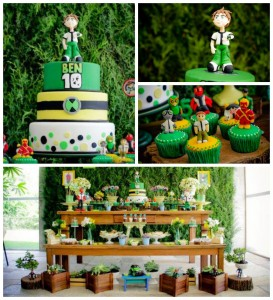 Ben 10 themed birthday party with Lots of Really Fun Ideas via Kara's Party Ideas! Full of decorating ideas, cakes, cupcakes, favors, printables, desserts, and MORE! #ben10 #benten #cartoonnetwork #partydecor #partystyling #eventplannign #partyplanner (2)
