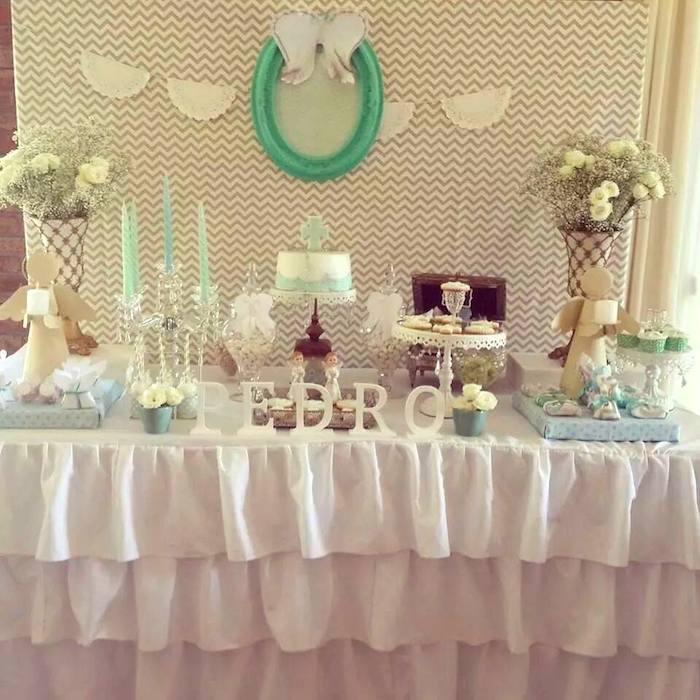 Kara 39 s party ideas modern meets vintage baptism dessert - Decoracion para bautizo de nino y nina ...
