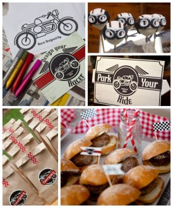 Vintage Motorcycle themed birthday party with So Many Cute Ideas via Kara's Party Ideas | Cake, decor, cupcakes, desserts, favors, games, and MORE! KarasPartyIdeas.com #motorcycleparty #motorcycles #partyplanning #partyideas #partydecor #partystyling (2)