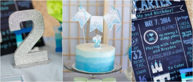 Blue Ombre second birthday party Full of Really Cute Ideas via Kara's Party Ideas KarasPartyIdeas.com Printables, Cakes, Recipes, Invitaions, and MORE! (1)