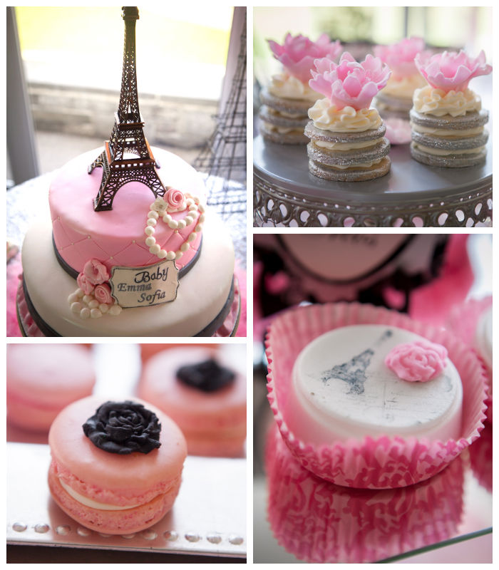 Kara 39 s party ideas pink paris themed baby shower via kara for Baby full month decoration ideas