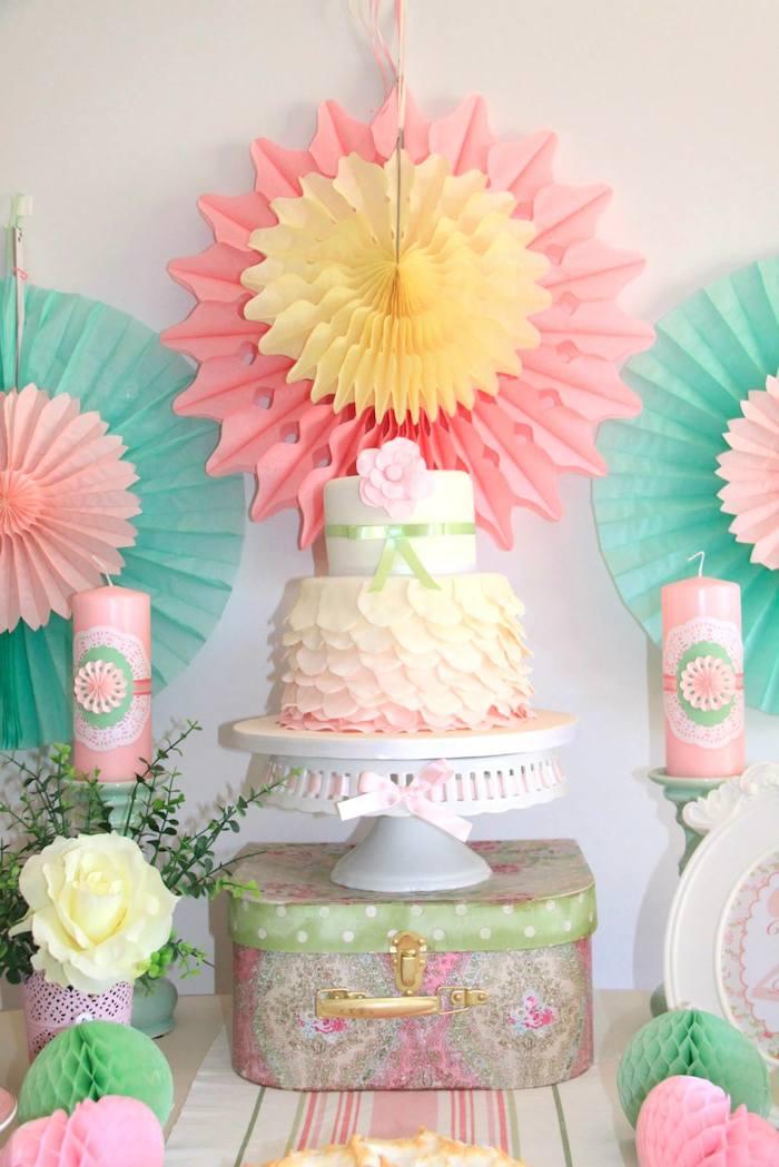 Pastel Tea Party with Such Cute Ideas via Kara's Party Ideas  Cake