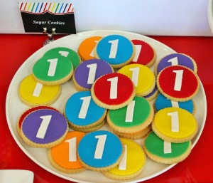 Rainbow themed 1st birthday party via Kara's Party Ideas! Cakes, cupcakes, printables, recipes, games, and more! KarasPartyIdeas.com #rainbowparty #firstbirthday #partystyling #eventplanning (10)
