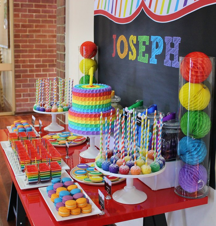 Karas Party Ideas Rainbow themed 1st birthday party via Karas