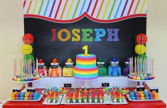 Rainbow Themed 1st Birthday Party Via Karas Ideas Cakes Cupcakes Printables