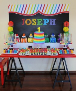 Rainbow themed 1st birthday party via Kara's Party Ideas! Cakes, cupcakes, printables, recipes, games, and more! KarasPartyIdeas.com #rainbowparty #firstbirthday #partystyling #eventplanning (17)