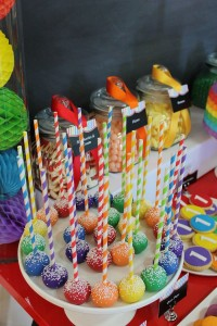 Rainbow themed 1st birthday party via Kara's Party Ideas! Cakes, cupcakes, printables, recipes, games, and more! KarasPartyIdeas.com #rainbowparty #firstbirthday #partystyling #eventplanning (13)