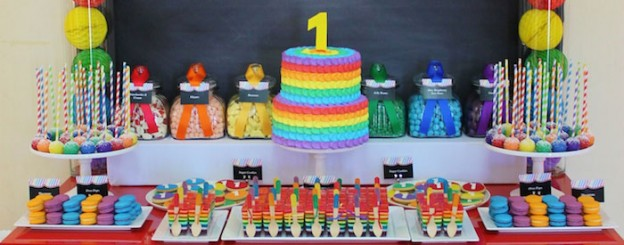 Rainbow themed 1st birthday party via Kara's Party Ideas! Cakes, cupcakes, printables, recipes, games, and more! KarasPartyIdeas.com #rainbowparty #firstbirthday #partystyling #eventplanning (2)