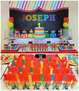 Rainbow themed 1st birthday party via Kara's Party Ideas! Cakes, cupcakes, printables, recipes, games, and more! KarasPartyIdeas.com #rainbowparty #firstbirthday #partystyling #eventplanning (1)