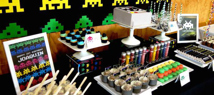 Kara S Party Ideas Space Invaders First Birthday Party