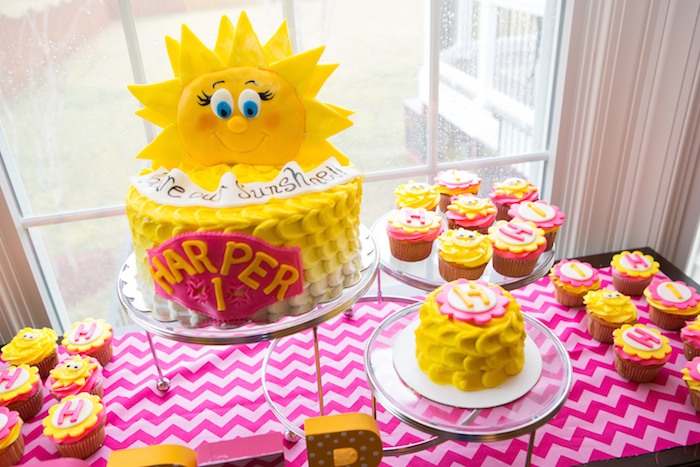 Karas Party Ideas You are My Sunshine themed first birthday party