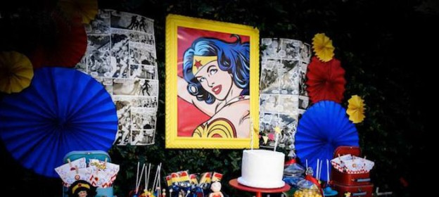 Wonder Woman themed birthday party with Lots of Really Cute Ideas via Kara's Party Ideas! full of decorating ideas, decor, desserts, cakes, favors, printables, games, and MORE! KarasPartyIdeas.com #wonderwoman #wonderwomanparty #superhero #partyideas #partydecor #partyplanning #eventstyling (2)