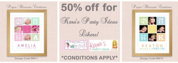 Karas Party Ideas Special 50% off birth detail prints at Paper Blossom Creations!