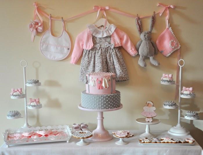 Pink And Gray Baby Shower Via Karau0027s Party Ideas KarasPartyIdeas.com Cake,  Printables,