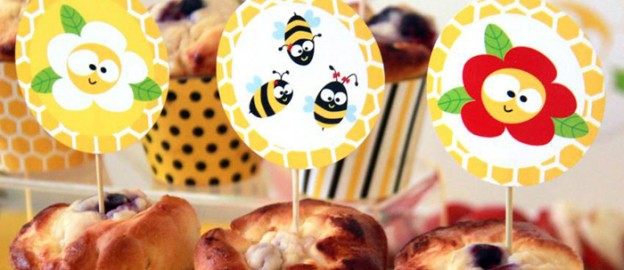 Bee themed birthday party via Kara's Party Ideas KarasPartyIdeas.com Cakes, Cupcakes, recipes, decor, favors, and more! #beeparty #honeybees #partystyling (1)
