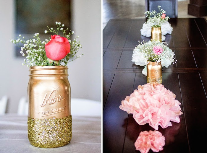 party ideas pink glitter gold baby shower via kara 39 s party ideas