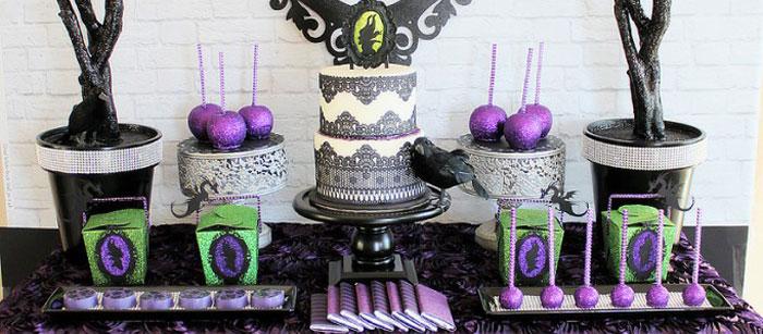 karas party ideas maleficent inspired dessert table