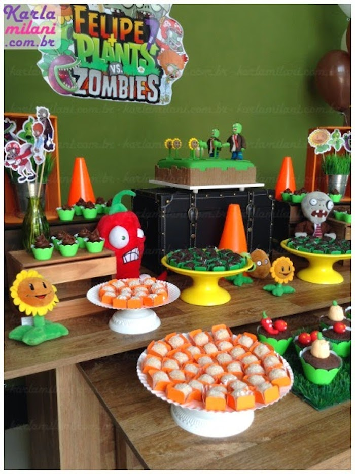 Zombie Themed Birthday Party Image Inspiration of Cake and