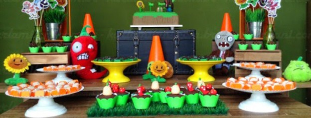 Plants vs. Zombies themed birthday party via Kara's Party Ideas KarasPartyIdeas.com Cakes, decor, desserts, cupcakes, printables, and more! #plantsvszombies #plantsvszombiesparty #karaspartyideas (2)