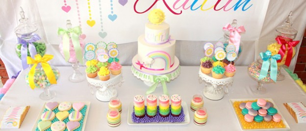 Pastel Rainbow 3rd birthday party via Kara's Party Ideas KarasPartyIdeas.com Supplies, cake, cupcakes, recipes, printables, and more! (2)