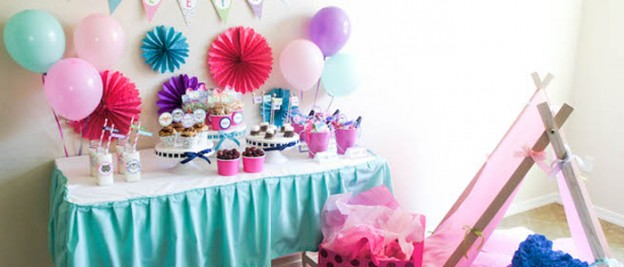 Glamping Camping themed birthday party via Kara's Party Ideas KarasPartyIdeas.com Party decor, printables, invitations, cakes, favors, etc! #glamping #glampingparty #slumberparty (1)