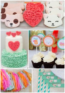 Kitten and Puppy Love themed birthday party via Kara's Party Ideas KarasPartyIdeas.com Cake, cupcakes, decor, printables, and more! #puppyparty #kittenparty #puppylove #karaspartyideas (1)