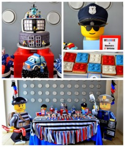 Lego City Police themed birthday party via Kara's Party Ideas KarasPartyIdeas.com Cake, decor, printables, invitation, favors, stationery, and more! #lego #legoparty #policeparty #legocity #karaspartyideas (2)