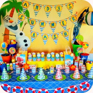 Olaf's Summer Bash + Frozen themed birthday party via Kara's Party Ideas KarasPartyIdeas.com Printables, cake, invitation, decor, supplies, games, etc! #olafparty #frozenparty #frozen #disneysfrozen #summerbash #beachparty (12)