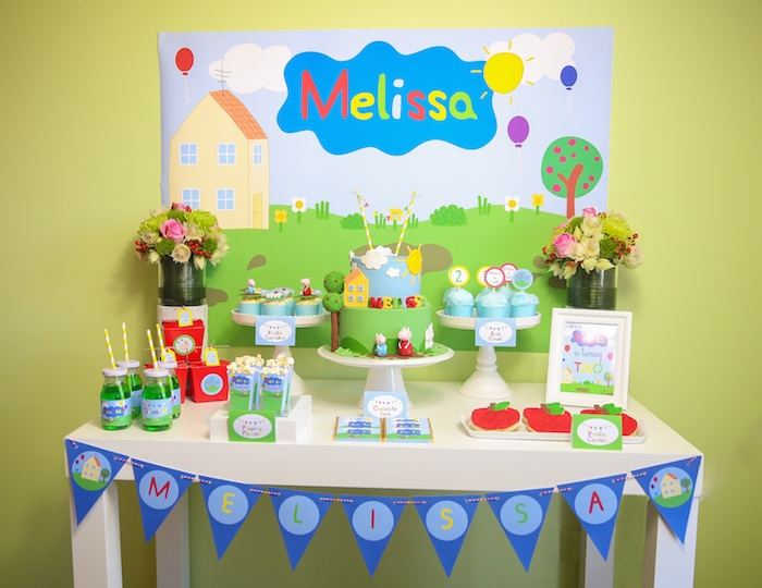 Kara's Party Ideas Peppa Pig themed birthday party via Kara u2019s Party Ideas KarasPartyIdeas com