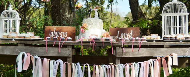 Shabby Chic Outdoor Wedding via Kara's Party Ideas KarasPartyIdeas.com Cake, decor, printables, invitation, etc! #shabbychicwedding #outdoorwedding (1)