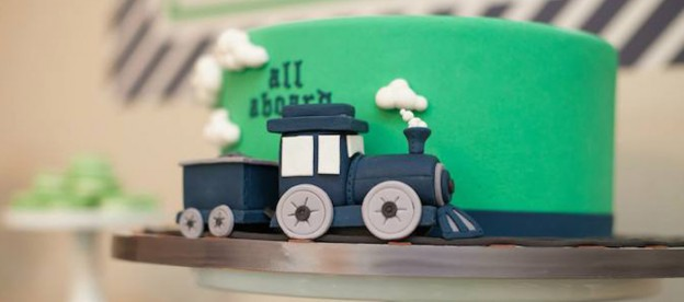 Navy & Green Train themed birthday party via Kara's Party Ideas KarasPartyIdeas.com Tutorials, cake, printables, favors, recipes, supplies, and more! #trainparty #choochootrain #trainstation (1)