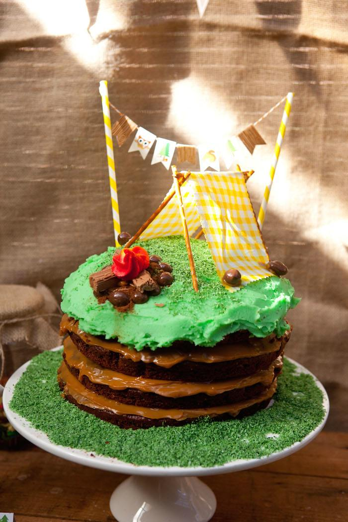 Camping Themed Birthday Party Via Karas Ideas KarasPartyIdeas Printables Cake Decor
