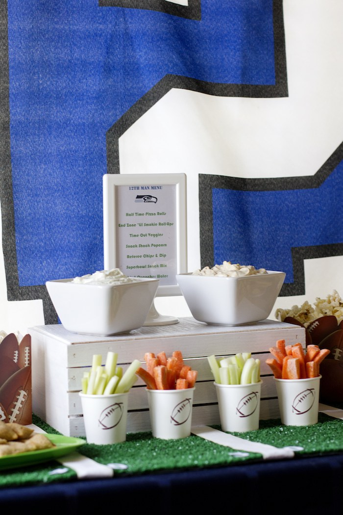 Football themed 12th birthday party via Kara's Party Ideas KarasPartyIdeas.com Cake, favors. cupcakes, tutorials, invitation, and more! #football #footballparty #tweenboy #teenboyparty #superbowlparty #superbowl (8)